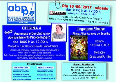 CARTAZ OFICINA 4 - NOVO INVESTIMENTO MÊS DE ANIVERSÁRIO DA ABPP - BA